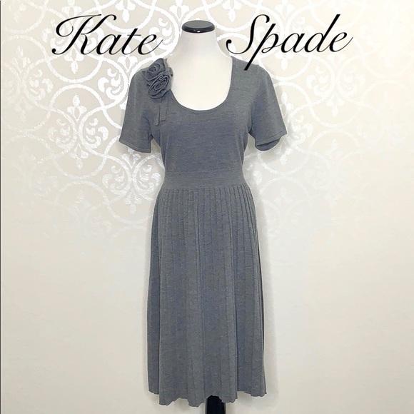 kate spade Dresses & Skirts - KATE SPADE XL GREY 100% SOFT WOOL DRESS